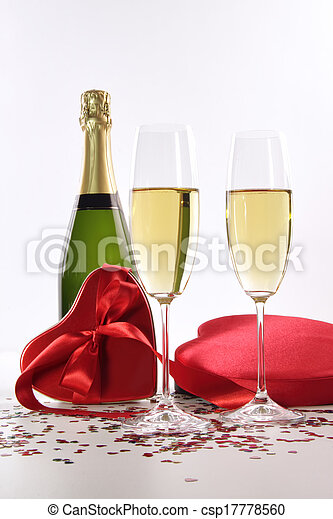 Champagne and chocolates for Valentine's Day - csp17778560