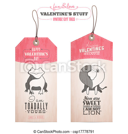Set of Valentine's day gift tags - csp17778791