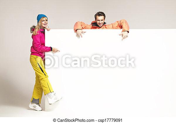 Cheerful blonde lady with her handsome boyfriend