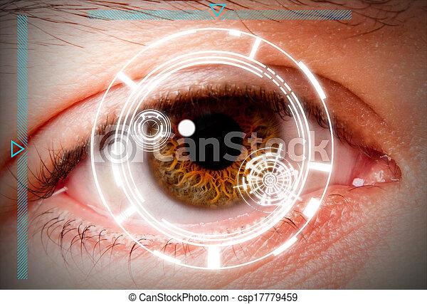 Biometric iris scan security screening - csp17779459
