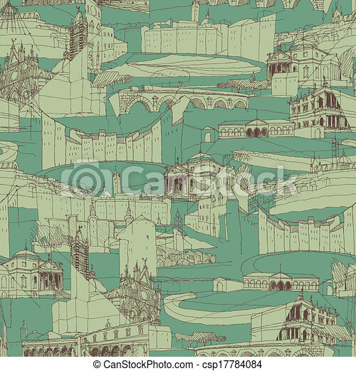 Historic Italian Architecture Collage seamless pattern - csp17784084