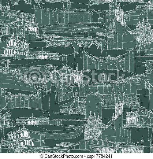 Historic Italian Architecture Collage seamless pattern - csp17784241