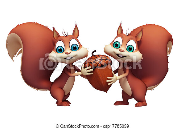 Drawings of Squirrel with nut - Two squirrel holding a nut ...