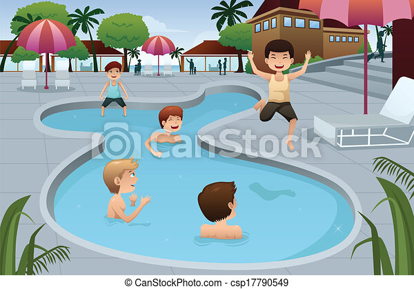 Eps vector de ni os juego al aire libre nataci n piscina un csp17790549 buscar How to draw swimming pool water