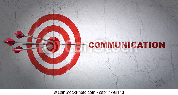Success advertising concept: arrows hitting the center of target, Red Communication on wall background, 3d render - csp17792143