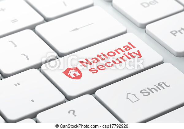 Security concept: Shield and National Security on computer keyboard background - csp17792920
