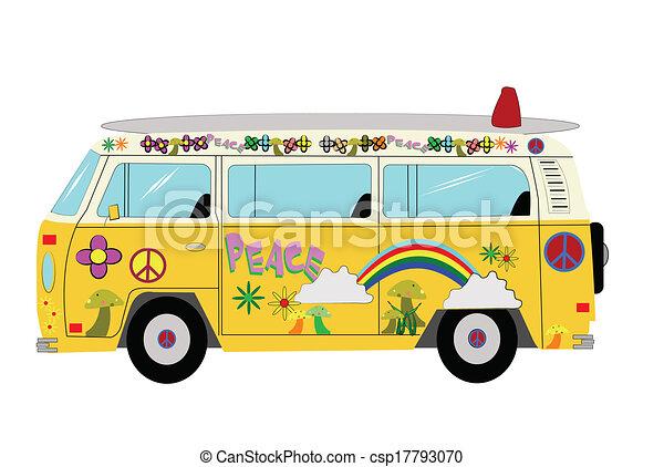 Volkswagen Van Hippie Draw