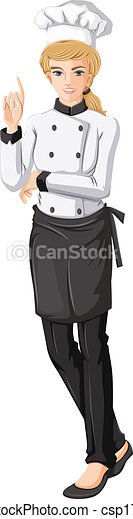 Vector of A female chef - Illustration of a female chef on a white ...