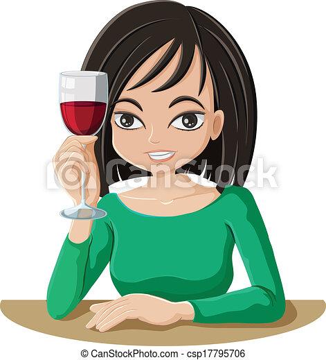 Cartoon Woman Drinking Wine