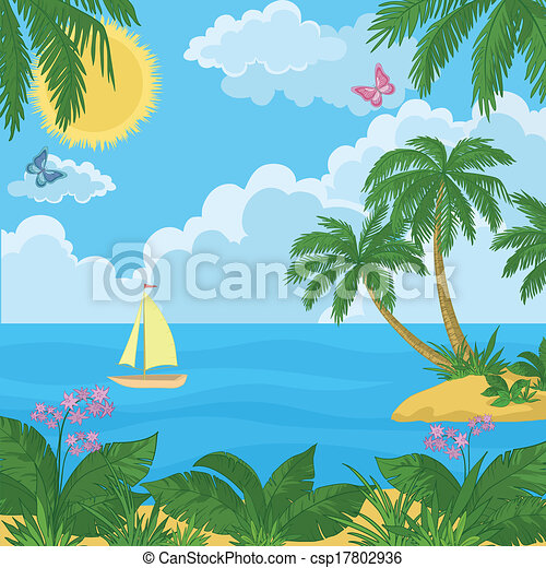 Island Flowers Drawings Landscape Island With Palm