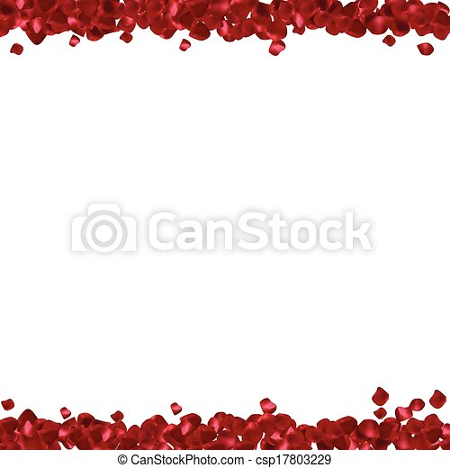 Red petals on a white background. Abstract frame with place for text  - csp17803229