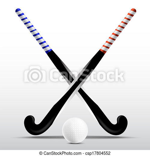Two Sticks For Field Hockey And Ball On A White Background Vector