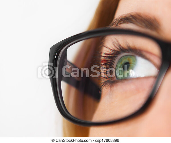 Close up of woman wearing black eye glasses - csp17805398