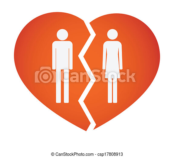 Vector Clip Art of Broken heart with male and female pictograms ...