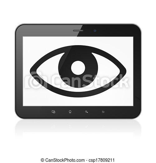 clipart de oeil tablette pc protection informatique concept csp17809211 recherchez. Black Bedroom Furniture Sets. Home Design Ideas