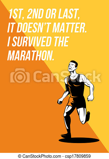I Survived Marathon Runner Retro Poster - csp17809859