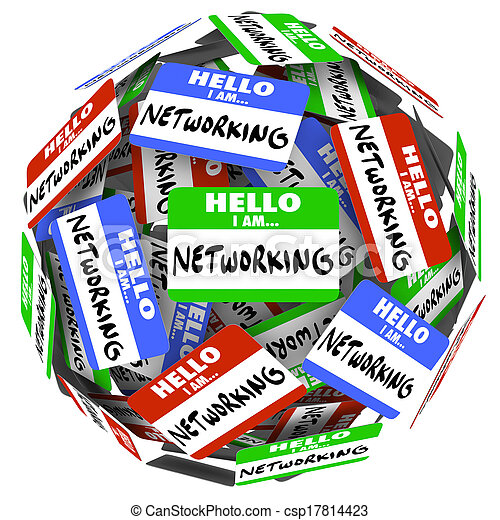 Hello I Am Networking nametags and stickers in a ball or sphere to illustrate the value of meeting and greeting people in the hopes of getting a new opportunity for a job or career, or sales success - csp17814423