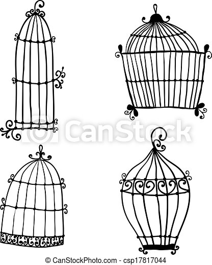 Set of doodle cages for birds - csp17817044