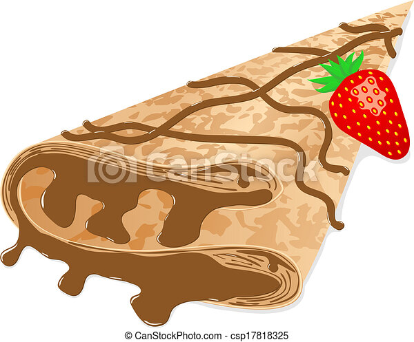 vector illustration of a crepe (pancake) with chocolate and strawberry ...