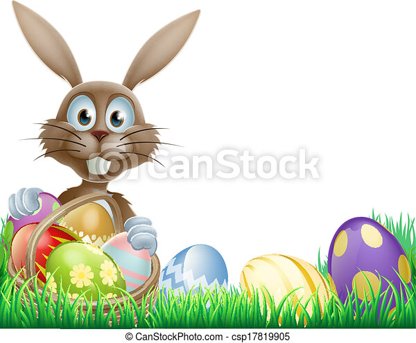 Easter bunny and eggs basket - csp17819905