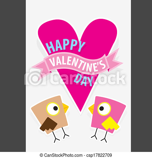 valentine day beautiful card with couple birds - csp17822709