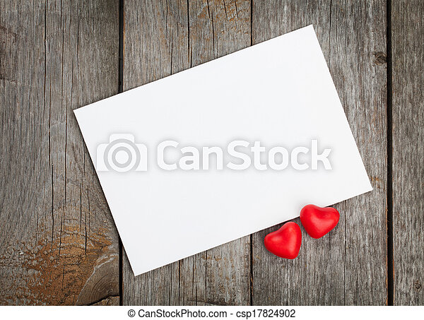 Valentine's day blank gift card and red candy hearts - csp17824902