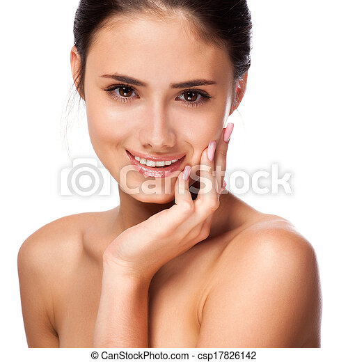 Beautiful Young Woman Touching Her Face.Fresh Healthy Skin.Isolated on White - csp17826142