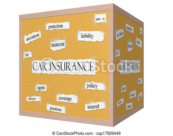 Car Insurance 3D cube Corkboard Word Concept - csp17826449