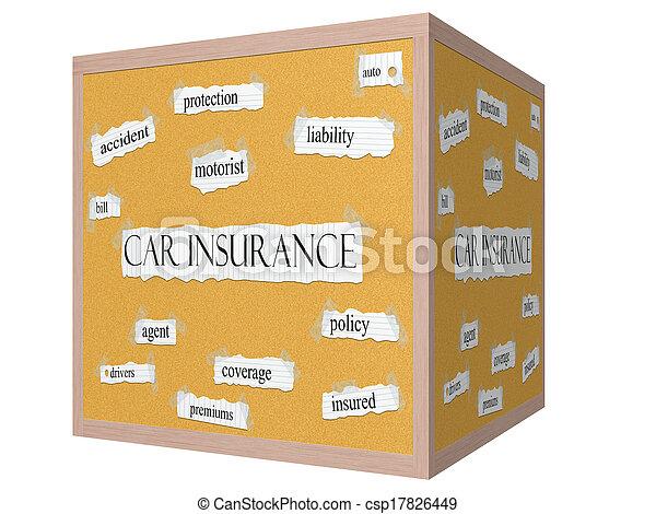 Car Insurance 3D cube Corkboard Word Concept - csp17826449