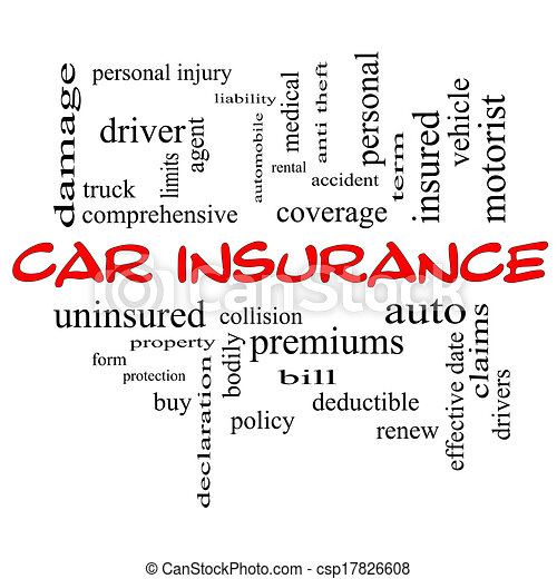 Car Insurance Word Cloud Concept in red caps with great terms such as