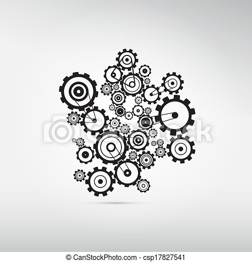 Abstract Cogs, Gears Isolated on Grey Background  - csp17827541