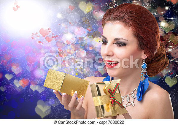 Happy Girl with Gift box.Valentine