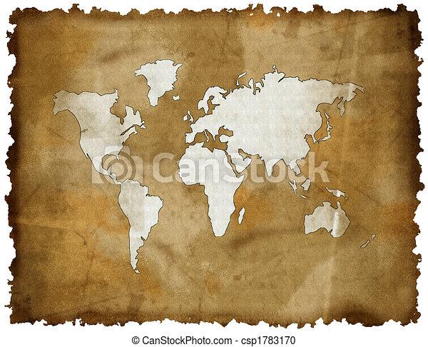 Abstract oud grunge wereld kaart stock beelden