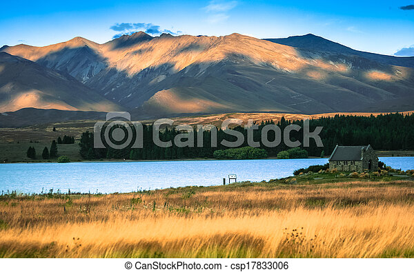 Church of the good shepard with beautiful mountain background, Lake Tekapo, New zealand - csp17833006