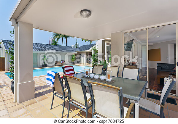 entertainment area outside of modern australian home - csp17834725