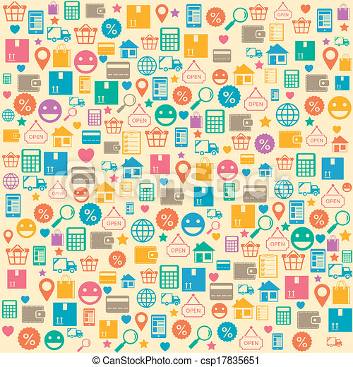 Ecommerce online shopping seamless background pattern - csp17835651
