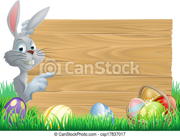 Easter bunny eggs and sign  - csp17837017
