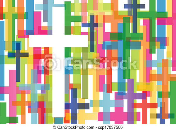 Christianity religion cross mosaic concept abstract background vector illustration for poster - csp17837506