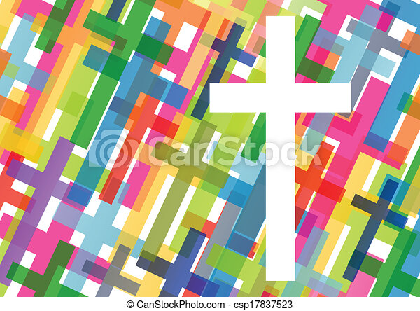 Christianity religion cross mosaic concept abstract background vector illustration for poster - csp17837523