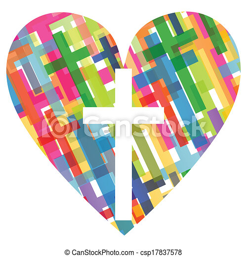 Christianity religion cross mosaic heart concept abstract background illustration vector for poster - csp17837578