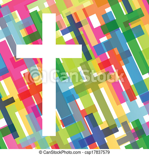 Christianity religion cross mosaic concept abstract background vector illustration for poster - csp17837579