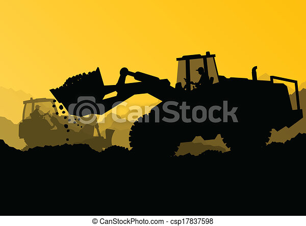 Excavator bulldozer loaders, tractors and workers digging at industrial construction site vector background illustration - csp17837598