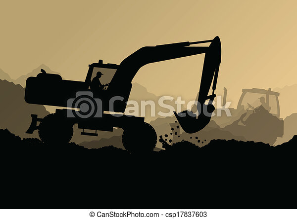 Excavator bulldozer loaders, tractors and workers digging at industrial construction site vector background illustration - csp17837603