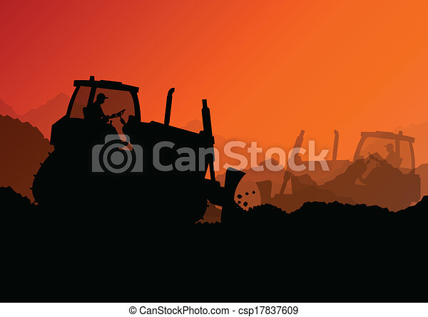 Excavator bulldozer loaders, tractors and workers digging at industrial construction site vector background illustration - csp17837609