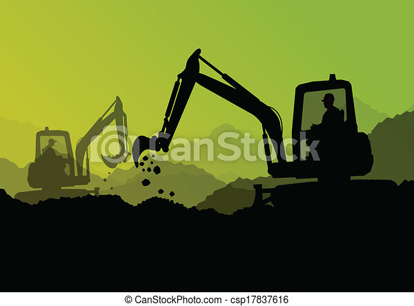Excavator Bulldozer Loaders, Tractors And Workers ...