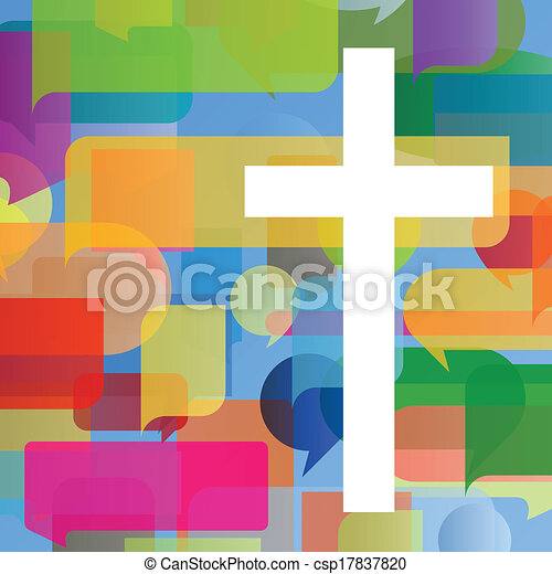 Christianity religion cross mosaic concept abstract background vector illustration for poster - csp17837820