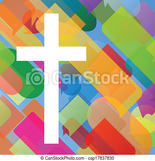 Christianity religion cross mosaic concept abstract background vector illustration for poster - csp17837830