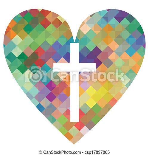 Christianity religion cross mosaic heart concept abstract background illustration vector for poster - csp17837865
