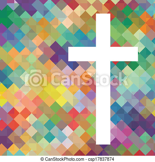 Christianity religion cross mosaic concept abstract background vector illustration for poster - csp17837874