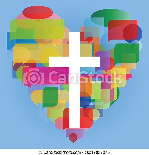 Christianity religion cross mosaic heart concept abstract background illustration vector for poster - csp17837876